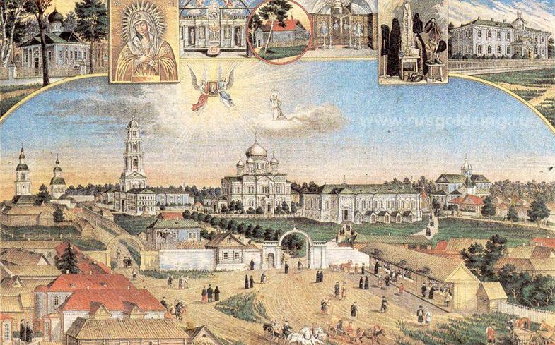План монастыря в Дивеево - старинная литография
